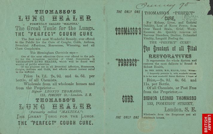 Advert for Thomasso's Perfect Cure, medicine